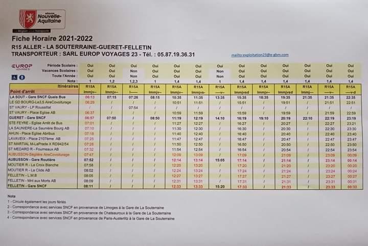 Horaires de la ligne régionale 15  FELLETIN – LA SOUTERRAINE